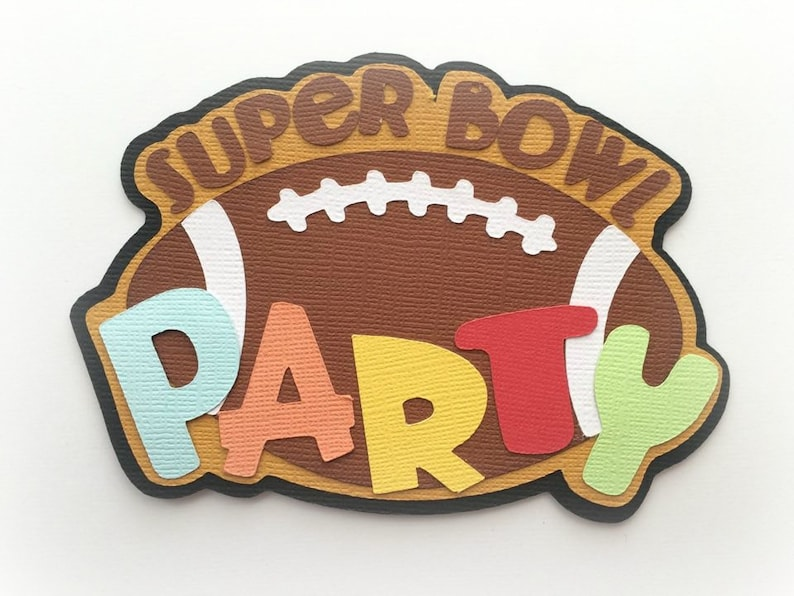 Die Cut Superbowl party football   title premade paper piecing image 0