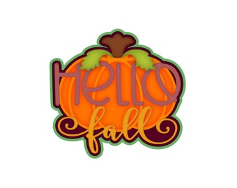 Scrapbook title Die Cut Hello fall,a premade paper piecing for scrapbook layouts by my tear bears kira