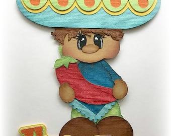 Fiesta boy cinco de mayo sombrero hat  choose hair color premade paper piecing 3d die cut for scrapbooks cards  by my tear bears kira