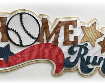 Home Run title sports baseball  kids summer  premade paper piecing 3d die cut by my tear bears kira