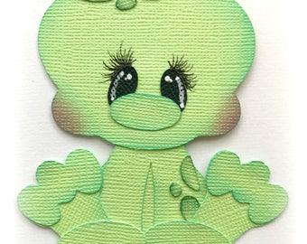 Baby frog animal premade paper piecing 3d die cut  by my tear bears kira
