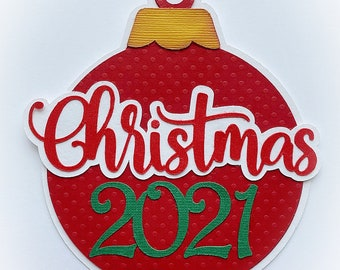 Scrapbook Die Cut title Christmas 2021, A premade paper piecing for scrapbook layouts and more by my tear bears kira