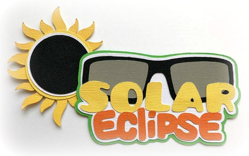Die Cut Solar eclipse  title premade paper piecing 3d die cut image 0