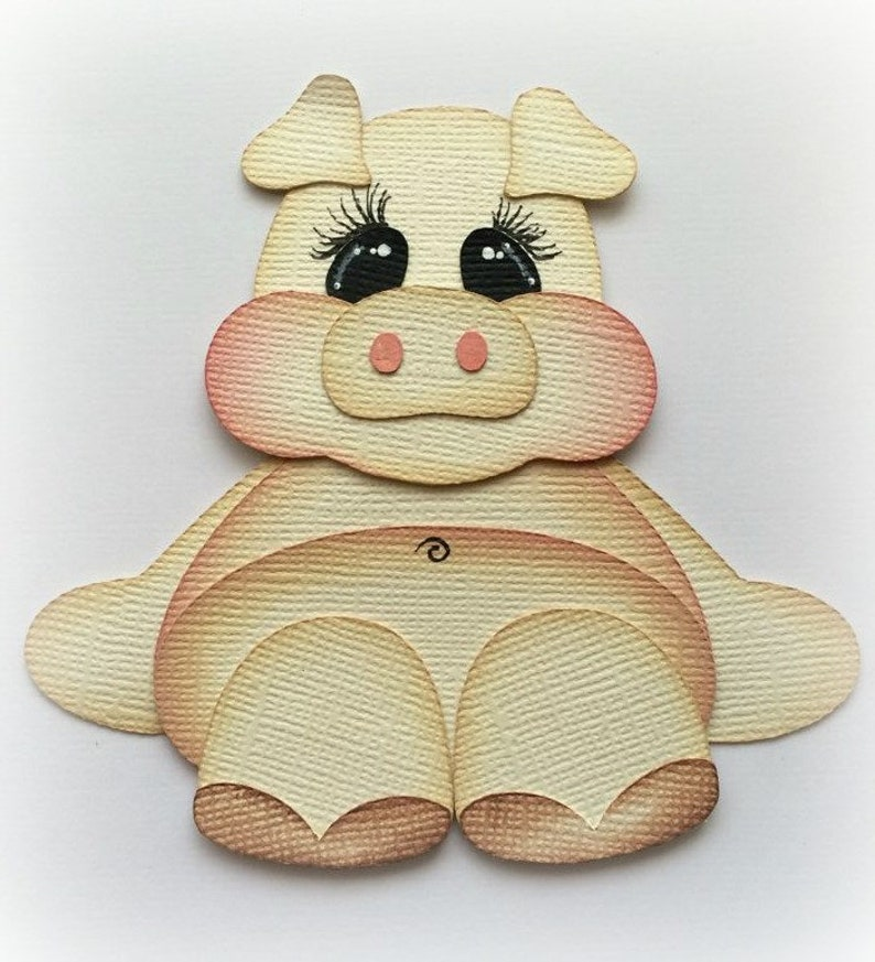 BABY ELEPHANT SITTING PRETTY  ANIMAL PREMADE  PAPER PIECING MY TEAR BEARS KIRA