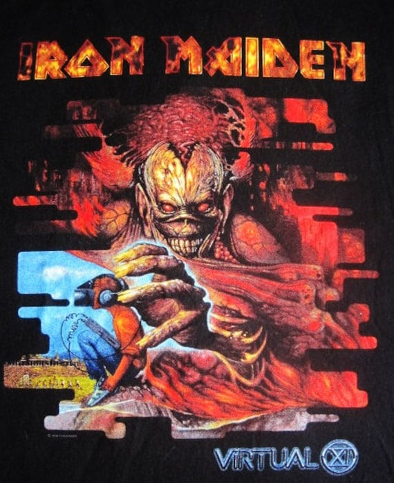 IRON MAIDEN Virtual x  Tshirt Vintage Band T Shirt