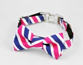 Striped Bow Tie Dog Collar in Pink and Navy