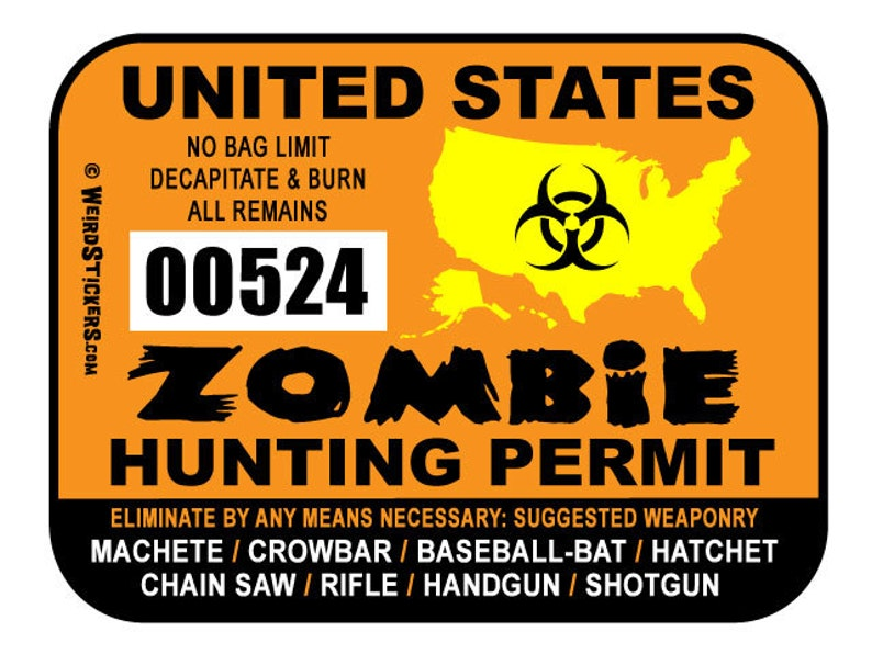 2019 United States Zombie Hunting Permit Vinyl Sticker  image 0