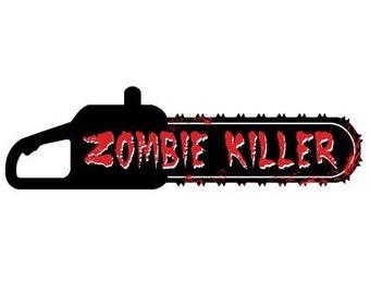 Zombie Killer Bloody Chainsaw Bumper Sticker