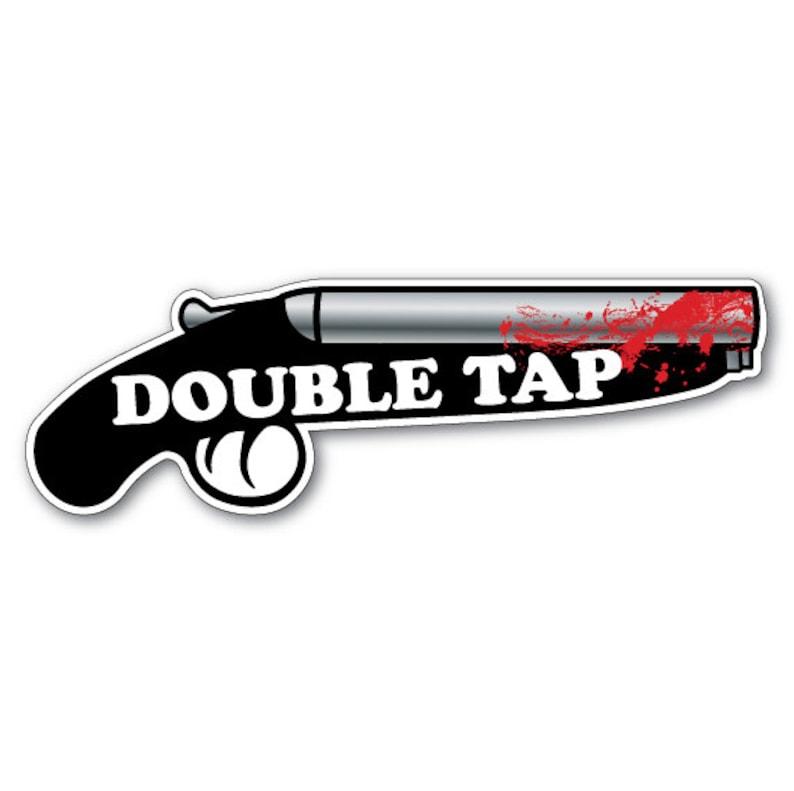 Rule Number 2  DOUBLE TAP  Zombie Shotgun Vinyl Bumper image 0
