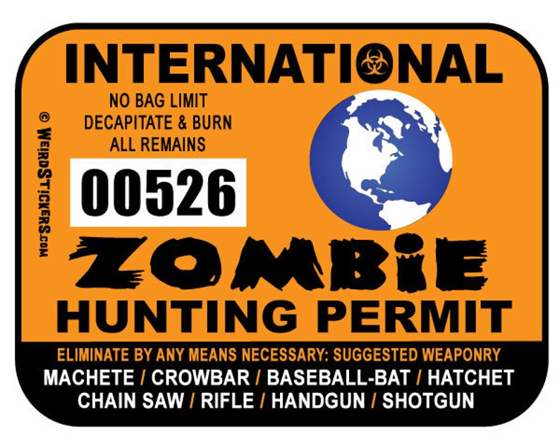 2019 International Zombie Hunting Permit Vinyl Sticker  image 0