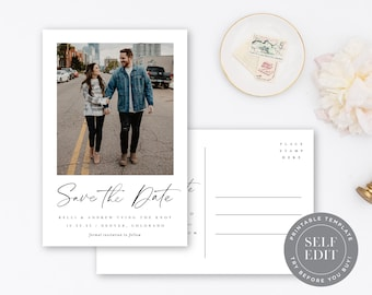 Romantic Vintage Printable Template Editable Instant Download! Save the Date Postcard