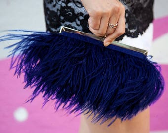 Navy Ostrich Feather Clutch Purse with Swarovski Jeweled Clasp for Wedding Prom Evening Something Blue