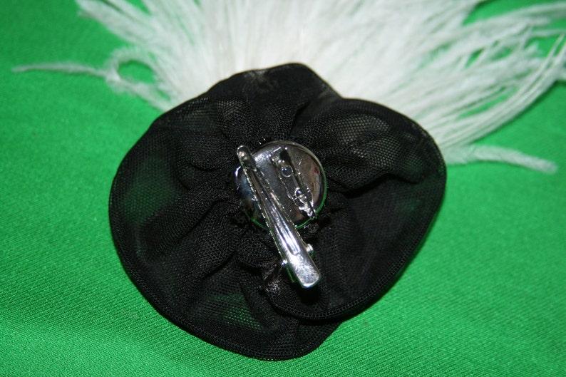 Big Feather Barrette Cream Black Wedding Hair Clip