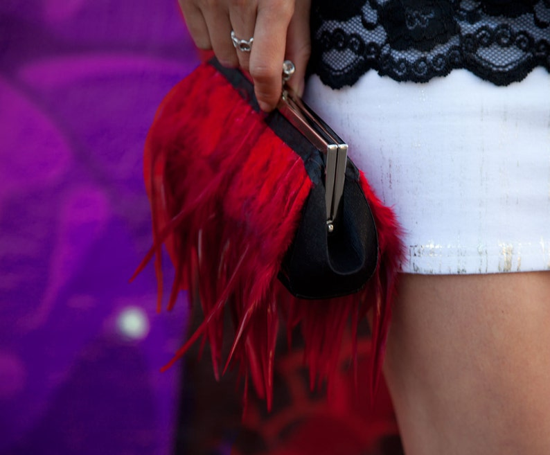Red Feather Clutch Purse with Jeweled Clasp image 0