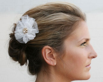 Bridal Barrette Rhinestone with Cream Netting Veil Gathered flower