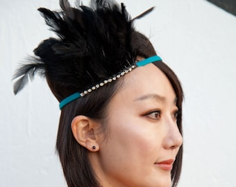 Black Feather Headband With Rhinestones on a Turquoise Elastic Headband