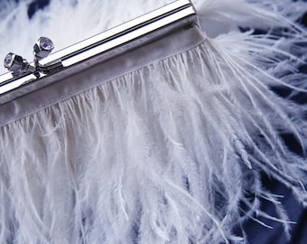 White Feather Wedding Purse Gold or Silver with Jeweled Clasp for Wedding Prom Evening