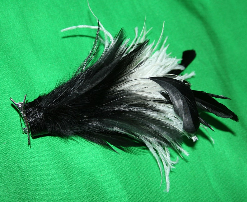 Big Feather Barrette Cream and Black Oversized Hair Clip