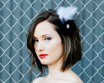 Feather Barrette 1920s Flapper with Swarovski Crystal Accent and Gathered Black Tulle