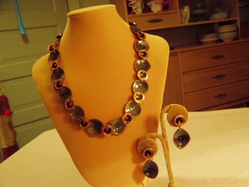 Vintage 1950s Copper /& Deep Green Enamel Necklace Clip Earrings Set Possibly Rame 9814