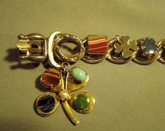 Vintage Link Charm Bracelet With Various Semi Precious Stones & Good Luck Symbols  9064