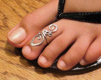 Toe Ring Sterling Silver Midi Ring Twisted Midi Wire Wrapped Ring Silver Toe Rings Cute Rings Adjustable Silver Knuckle Ring Mid Finger Ring
