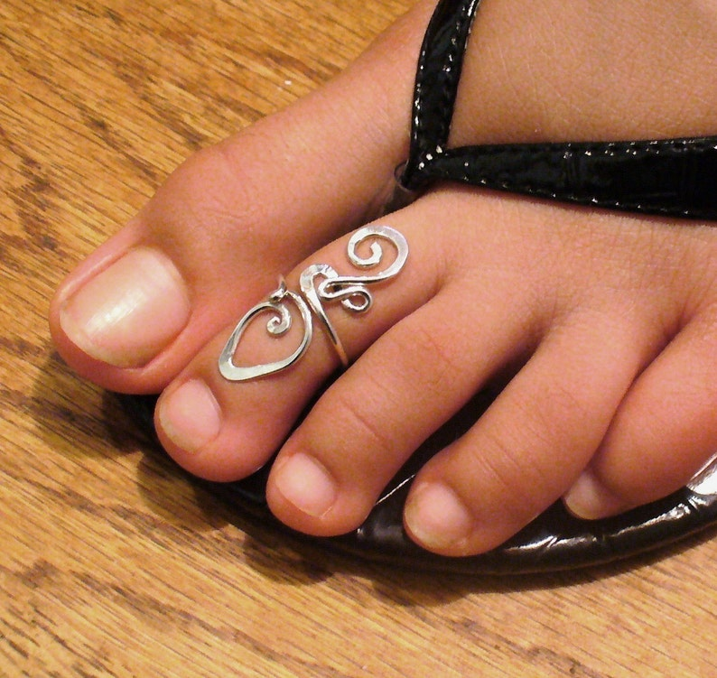 Toe Ring Sterling Silver Gold and Rose Gold Toe Ring Midi Ring image 0