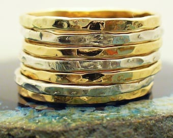Two Tone Ring Gold and Silver Ring Set Stacking Ring Set Minimalist Rings Hammered Stacking Rings Mixed Metal Rings Set Stackable Gold Rings