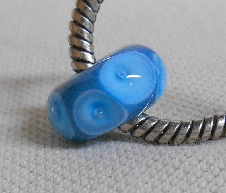Handmade Large Hole Lampwork Bead European Charm Bracelet Bead Blue with Blue Bubble Dots