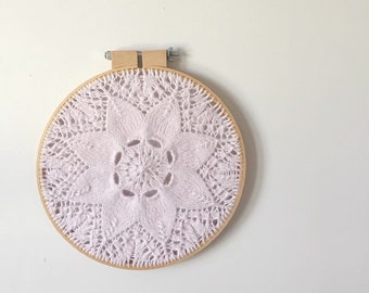 Bloom,  a knit wall hanging