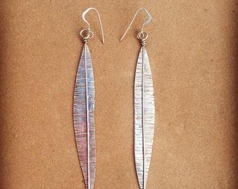 Silver long leaf earrings