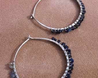 Silver and sapphire wrapped hoops