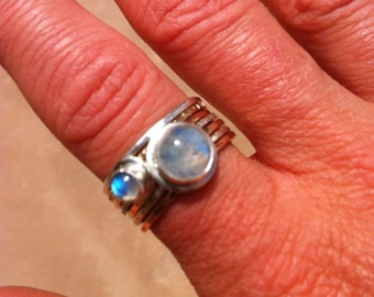 Silver Rose Gold Yellow Gold Fill Rainbow Moonstone Stack Ring