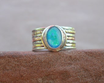 Opal Mixed Metal Hammered Ring