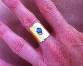 Artisan jewelry, adjustable ring, handmade brass, silver , labradorite.