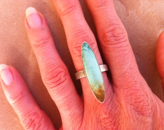 Turquoise and Hammered Silver Ring