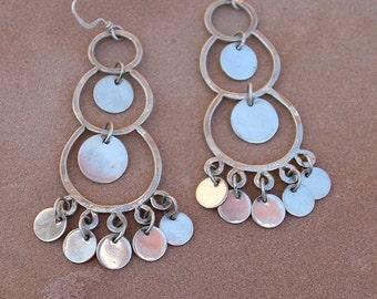 Silver Moon Chandelier Earrings