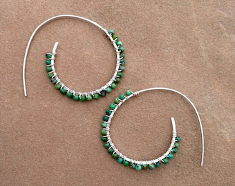 Turquoise silver wire wrapped threader earrings