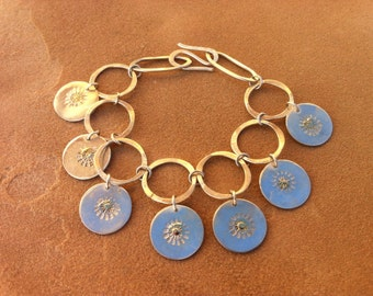 Sunburst Silver and Gold Coin Charm Bracelet