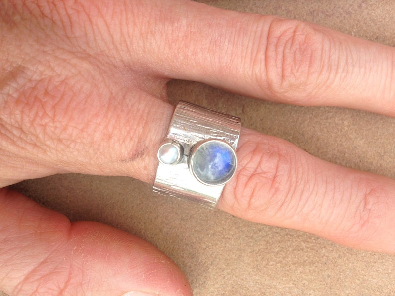 Silver Wide Band Rainbow Moonstone and Pearl Ring