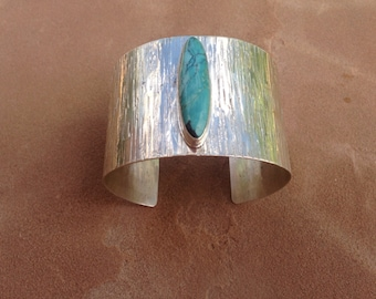 Silver and Turquoise Wide Bracelet Cuff