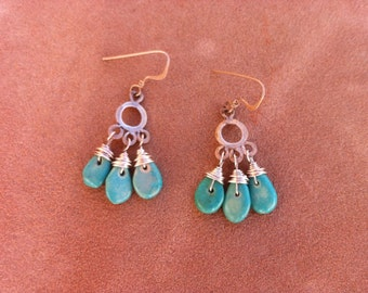 Turquoise Silver Circle Dangle Earrings