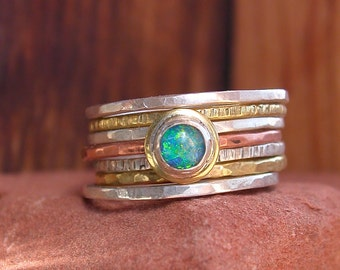 Hammered Stack Rings With Opal