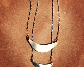 Large crescent moon layering necklace
