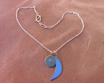 Sunburst and Crescent Moon Necklace