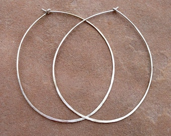 Large gypsy silver hoop earrings
