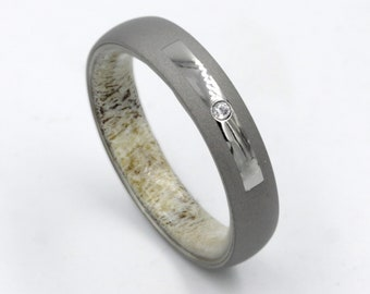 b5a37265c883f7 diamond ring for men and woman antler ring sandblast wedding band mens  wedding band diamond engagement men ring antler ring for men