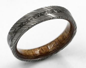 meteorite wood ring damascus meteorite ring gibeon sky ring man wood ring with damascus and meteorite mens wedding band unisex