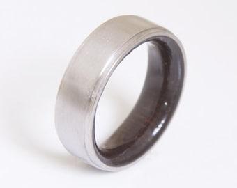 Wood ring Titanium Ring Man Ring Mens Wood Wedding Band Titanium Wood Ring Alternative Wedding Band