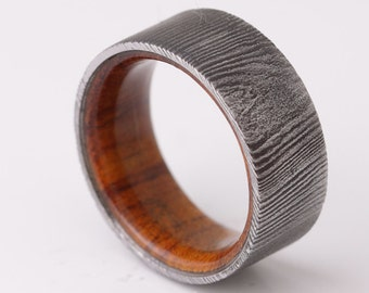 Damascus Steel wood ring  Steel wedding band steel wood ring desert iron wood ring